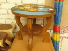 Kids 2 Tier Wooden Table. 45cm Tall x 52cm Diameter. Very Solid