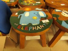 Small kids Wooden Stool. 26cm Tall x 28cm Diameter. See Image For Design