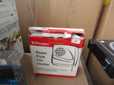 Dimplex down flow fan heater, unchecked and boxed.