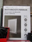 Tavistock bathroom mirror with built in speakers and LED lighting, untested (due to mains powered)