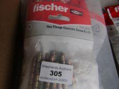 5x Fischer - Hex Flange Concrete Screws 6 x 75 (Packs of 10) - New & Packaged.