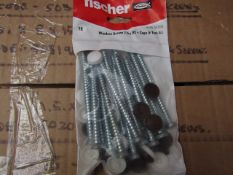 5x Fischer - Window Screws 7.5 x 92 + Caps & Torx Bit (Packs of 16) - New & Packaged.