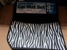 Full Set of Zebra Print Car Mats - New.