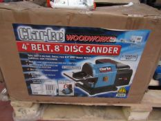 """Clarke - WoodWorker 4"""" Belt, 8"""" Disc Sander - Unchecked Untested & Boxed. This lot is a Machine Mart"""