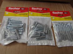 5x Fischer - Coach Screw 6 x 50 (Packs of 10) - New & Packaged.