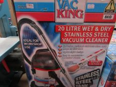 Vac King - 20 Litre Wet & Dry Stainless Steel Vacuum Cleaner - Unchecked & Boxed. This lot is a
