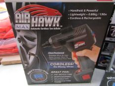   1X   AIR HAWK MAX CORDLESS TYRE INFLATOR   REFURBISHED AND BOXED   NO ONLINE RE-SALE   SKU