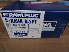 Rawl Fixing - Rawl Plug R-SPT M6 x 40L (6mm Drill Diameter) Box of 100 - New & Boxed.