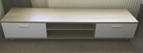 Oak and white 168cm TV stand, brand new, flat packed and boxed. RRP Circa £100.00 | 1x Box