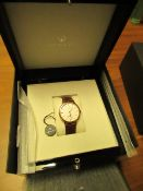 Ornake watch, miyota movement, white and gold with brown leather strap, new, Boxed and ticking.