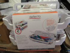 Deflecto Stackable Caddy Organizer. 2 x 2 Containers with handles. Clip has Broke
