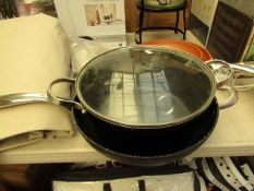 2 x The Rock pans. 1 being a Stock Pot (lid needs attention) & a Wok
