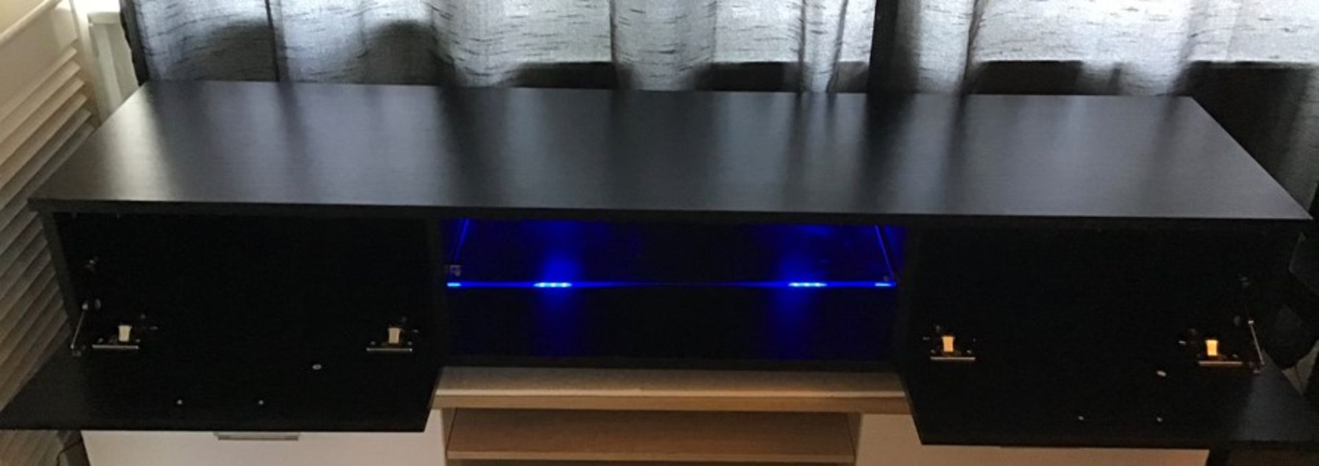 Black Melamine TV unit with LED lighting, brand new, flat packed and boxed. RRP Circa £120.00 | 3x - Image 3 of 3
