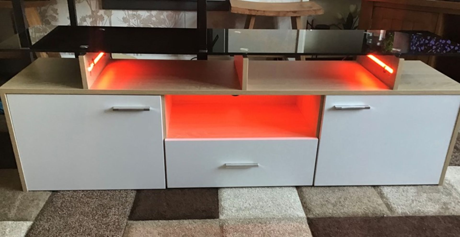 White and oak Melamine TV unit with 9 colour LED lighting, brand new and boxed. RRP Circa £160.00 - Image 6 of 8