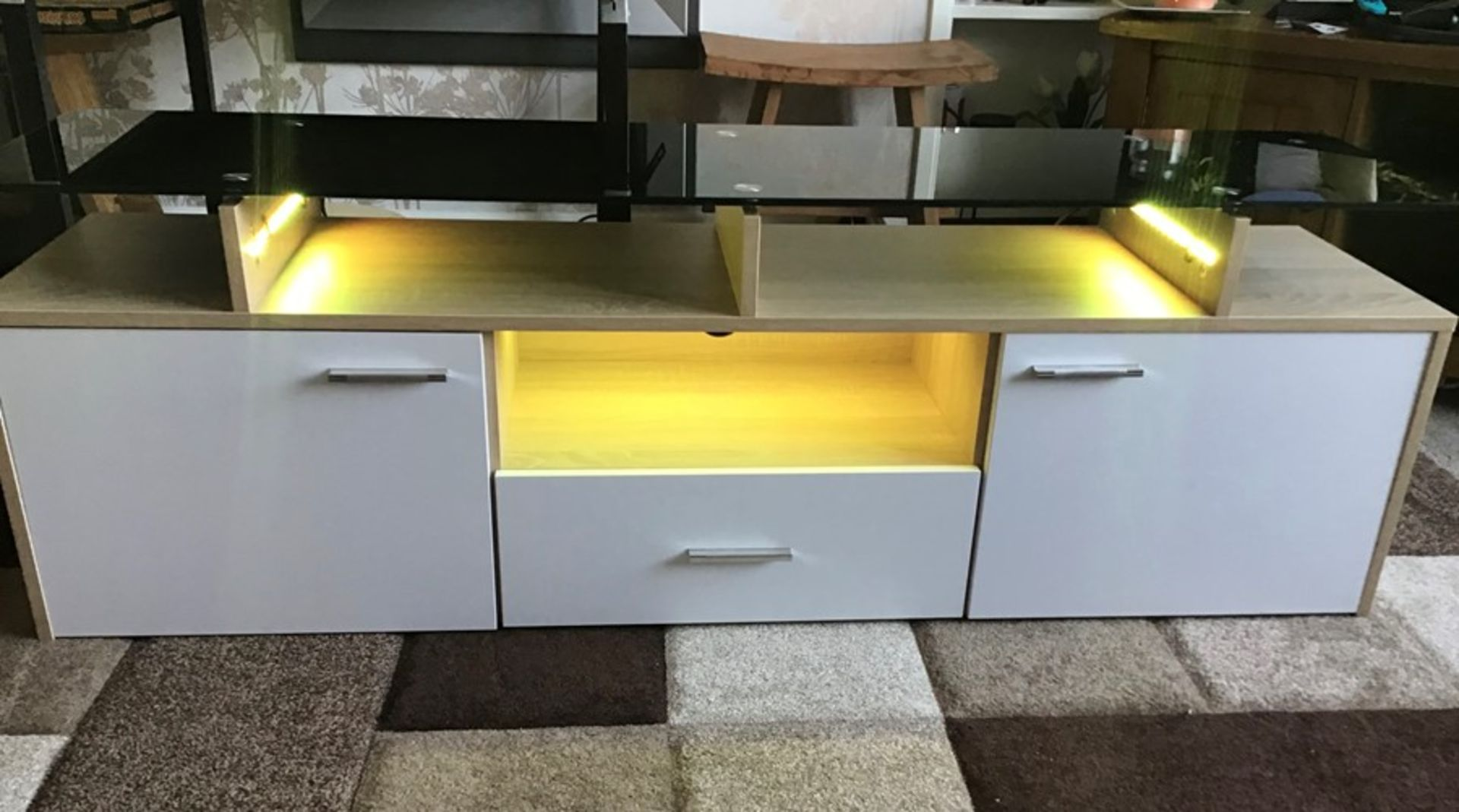 White and oak Melamine TV unit with 9 colour LED lighting, brand new and boxed. RRP Circa £160.00 - Image 7 of 8