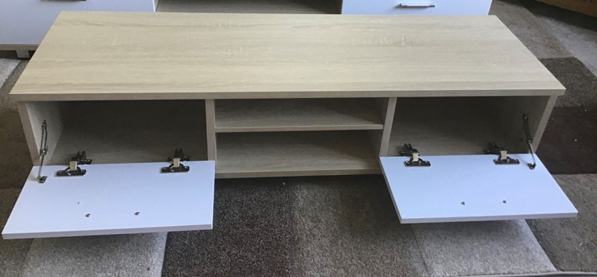 Oak and white 128cm TV stand, brand new, flat packed and boxed. RRP Circa £100.00 |1x Box - Image 2 of 3