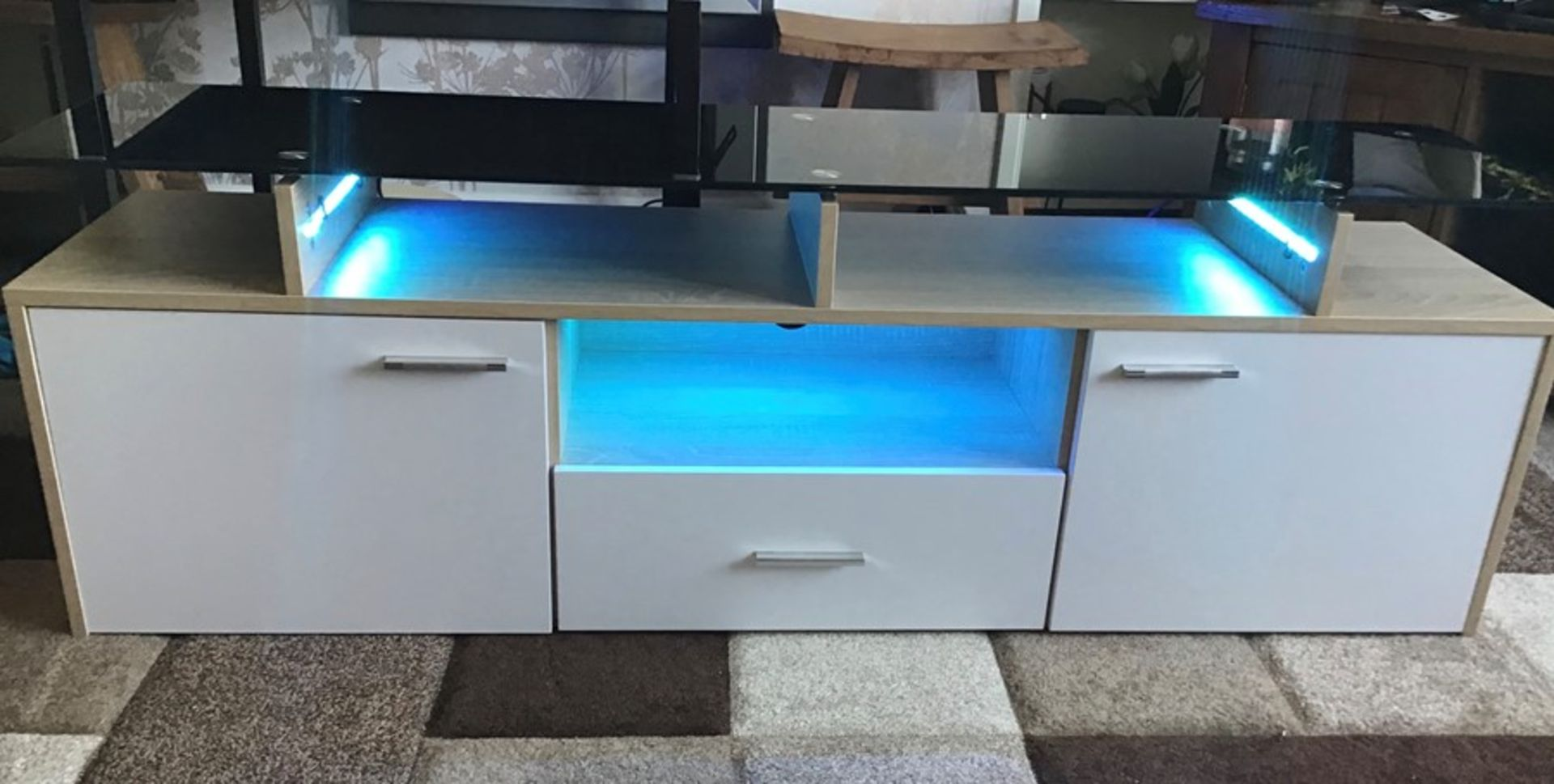 White and oak Melamine TV unit with 9 colour LED lighting, brand new and boxed. RRP Circa £160.00 - Image 5 of 8