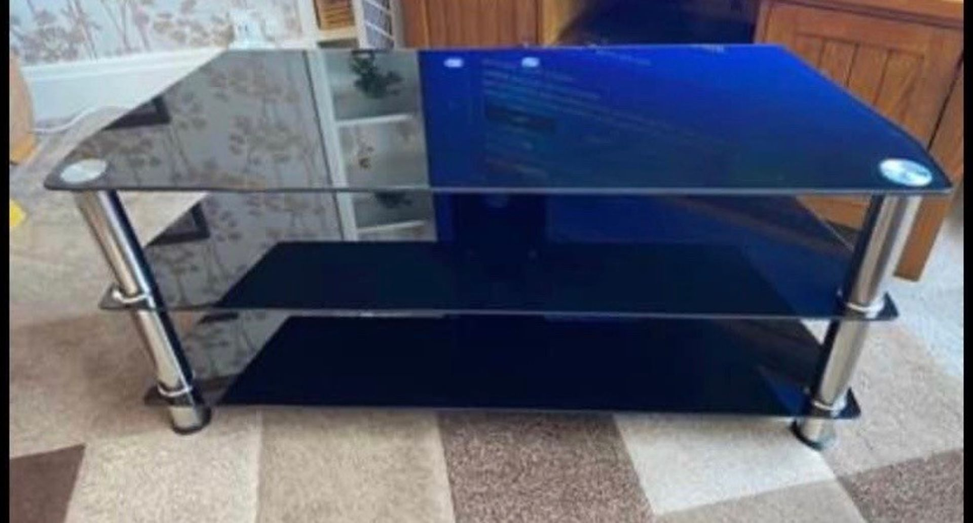 3 Tier black glass with steel tube TV stand, brand new and boxed.