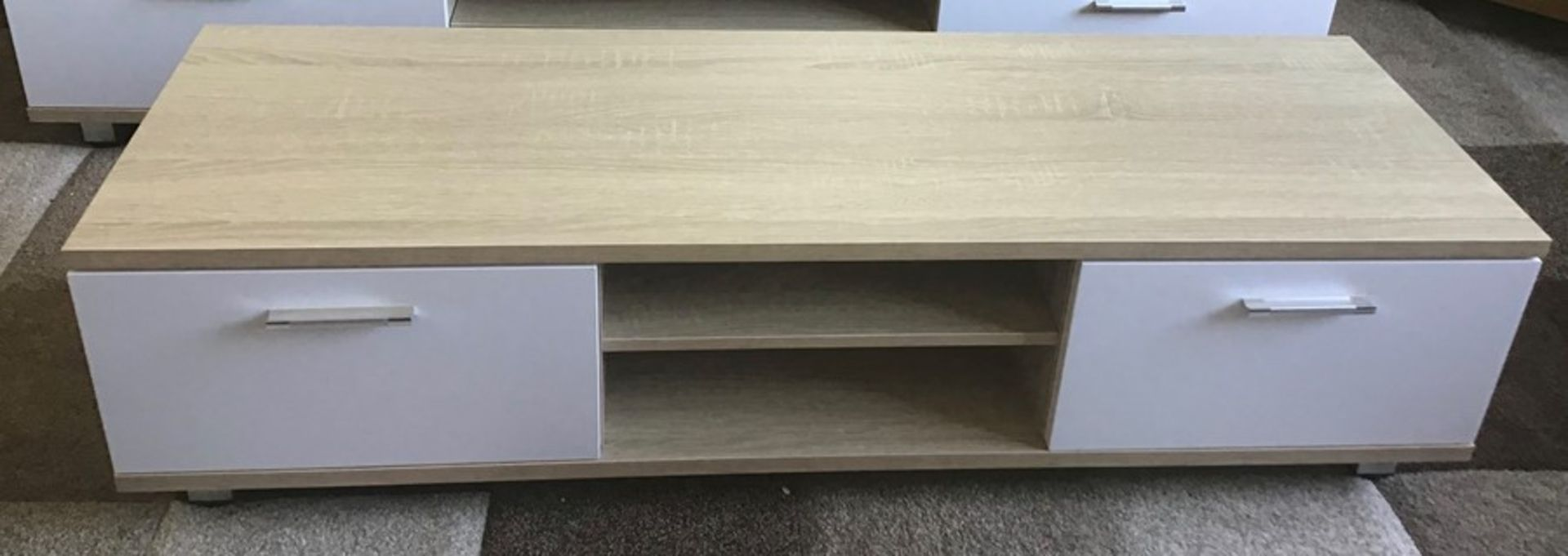 Oak and white 168cm TV stand, brand new, flat packed and boxed. RRP Circa £100.00 | 1x Box - Image 3 of 3