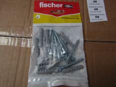 5x Fischer - Coach Screw 6 x 50 (Packs of 10) - New & Packaged.