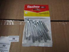 5x Fischer - Coach Screws 6 x 50 (Packs of 10) - New & Packaged.