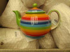 2 x Large Rainbow Teapots new see image