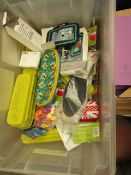 Container with approx 25+ various items such as Pencil cases, Pens, Foam Shapes, etc