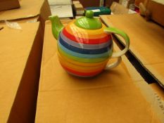 2 x One Cup Rainbow Teapots with Cups new see image