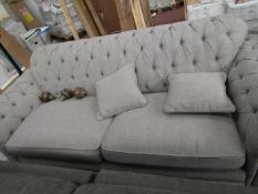 Costco button back 3 seater sofa with cushions, no major damage. RRP Circa £1500.00