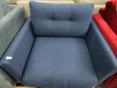| 1X | SWOON BLUE FABRIC ARMCHAIR | APPEARS TO HAVE NO MAJOR DAMAGE BUT MISSING FEET | RRP CIRCA £