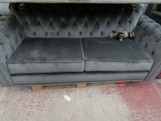 Chesterfield style 3 seater sofa, no major damage.