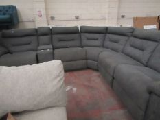 Kuka Justin Grey Fabric Power Reclining Sectional Sofa, untested and no major damage. RRP £1499.99