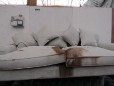 | 1X | MADE.COM 3 SEATER FABRIC SOFA WITH CUSHIONS | RRP CIRCA £800.00 | NEEDS A DEEP CLEAN AND IS