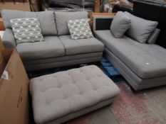 Costco 2 piece corner sofa with cushions, has a rip on the back arm of the sofa.