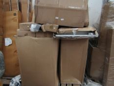 Pallet with 6 Bayside Furnishings Dining chairs and other table parts, all appear to be boxed.