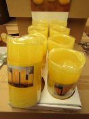 8 x Indoor Battery Operated LED Candles with 4hr or 8hr auto options new & packaged (batteries