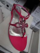 Unze by Shalamar Shoes Ladies Fuschia & Embelished Shoes size 5 new & boxed see image for design