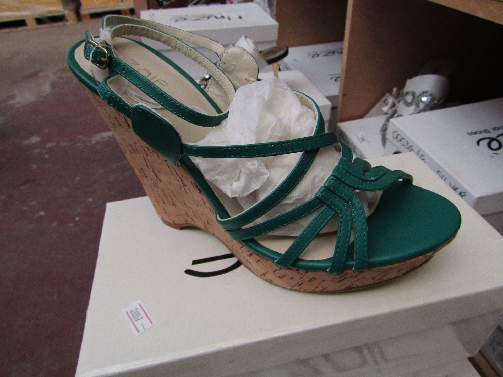 Zaif by Shalamar Shoes Ladies Green Wedge Shoes size 6 new & boxed see image for design