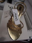 Unze by Shalamar Shoes Ladies Gold & Embellished Shoes size 3 new & boxed see image for design