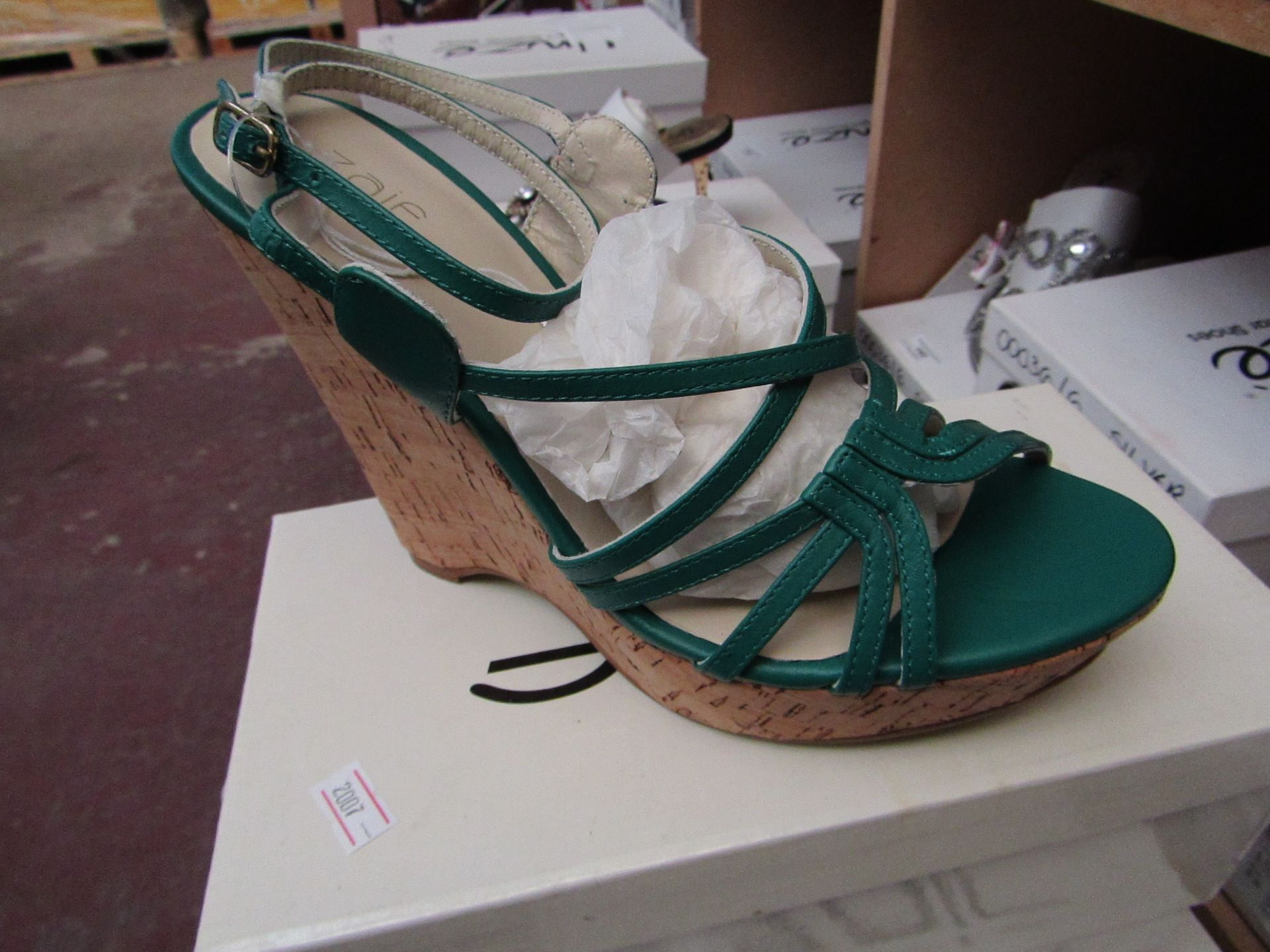 Zaif by Shalamar Shoes Ladies Green Wedge Shoes size 7 new & boxed see image for design