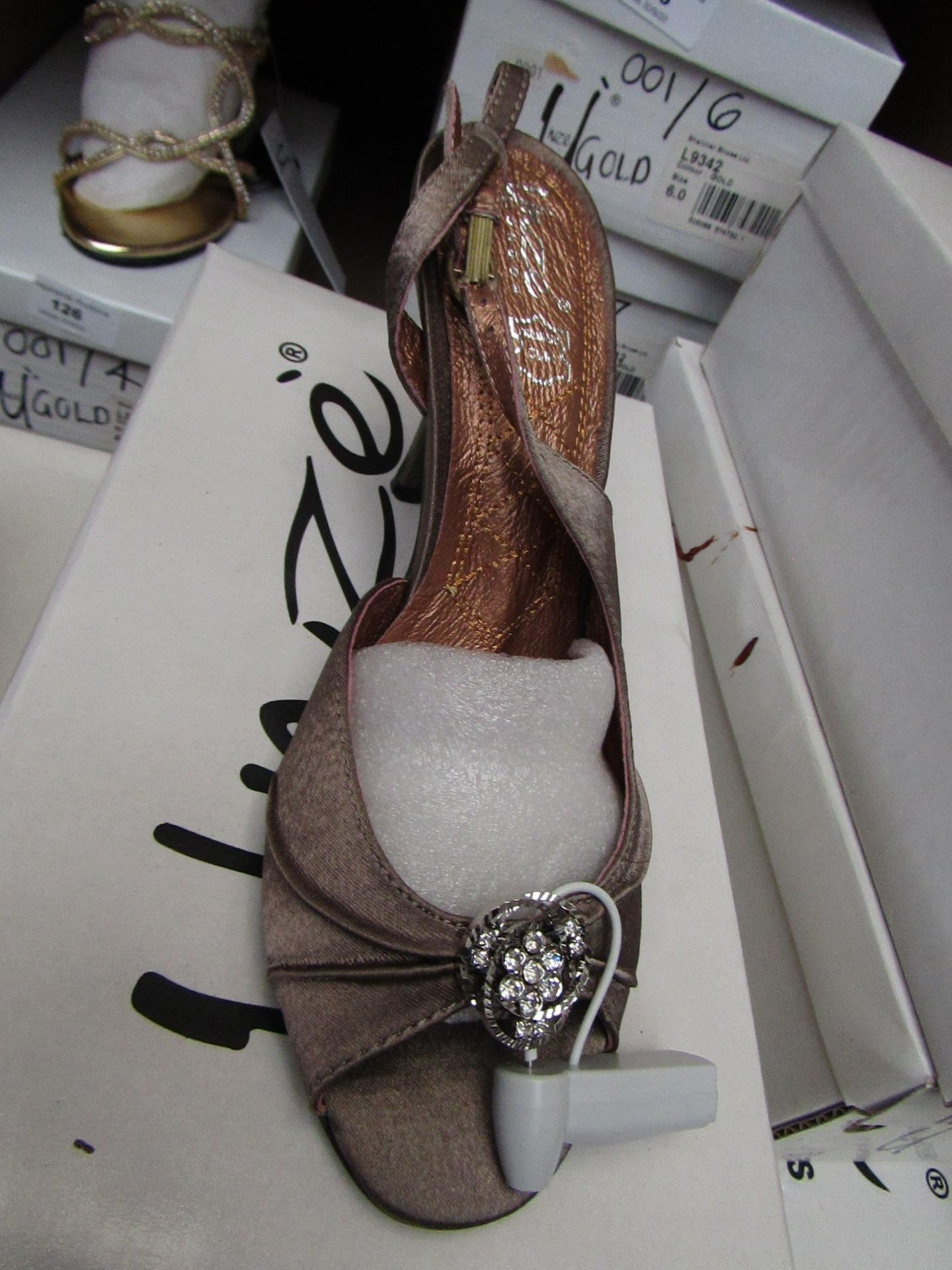 Unze by Shalamar Shoes Ladies Coffee & Embellished Shoes size 3 new & boxed see image for design