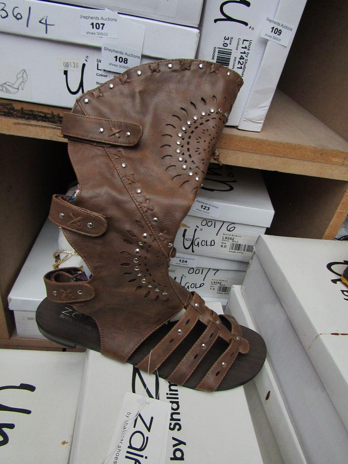 Zaif by Shalamar Shoes Ladies Brown Leather Calf Shoes size 8 new & boxed see image for design