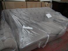 2 seater Grey Fabric Button back sofa.