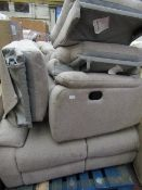| 1X | 3 SEATER FABRIC RECLINING SOFA | NEEDS A CLEAN AND IS UNCHECKED | THE BOX AND ALL PACKING
