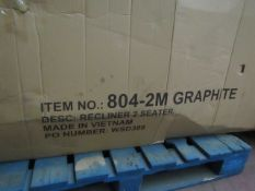 | 1X | 2 SEATER GRAPHITE FABRIC RECLINING SOFA | LOOKS UNUSED BUT IS BOXED AND UNCHECKED | THE BOX