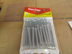 5x Fischer - Hammer-In Fixing 6 x 60 (Packs of 20) - New & Packaged.
