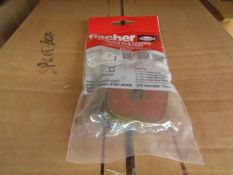 5x Fischer - Hand Rinse & Corner Basin Bracket Drill Diameter 10mm - New & Packaged.