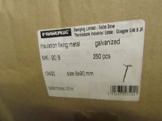 2x Box of Approx 250 Insulation Fixing (Metal) Stainless steel - Size 4 x 140mm - All Boxed.