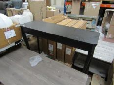 | 1x | COX AND COX ELEGANT BLACK CONSOLE TABLE | HAS A FEW VERY LIGHT MARKS ON TOP | RRP £245 |