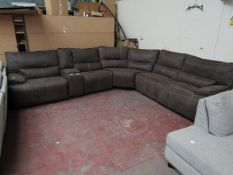 Kuka 5 seater corner reclining sofa, untested and has marks as it is in used condition.